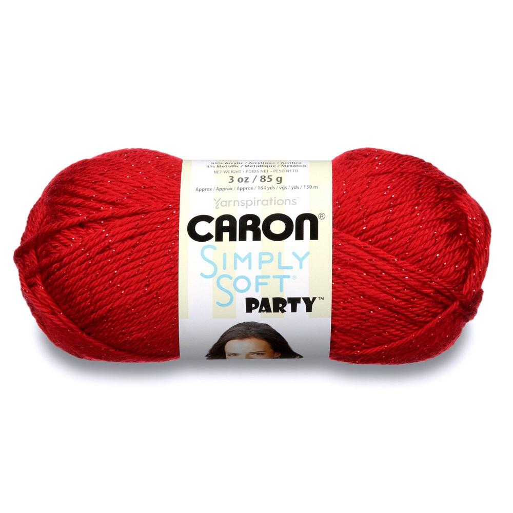 shimmery yarn 1 skein Party Yarn Red Sparkle glitter yarn acrylic yarn Caron Simply Soft Yarn